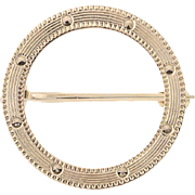 Circle Brooch - 10k Yellow Gold Pin Etched Designs