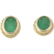 Emerald Earrings - 14k Yellow Gold Oval Solitaire Pierced Studs 0.96ctw