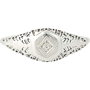 Art Deco Filigree Diamond Ring - 14k White Gold Vintage Women's
