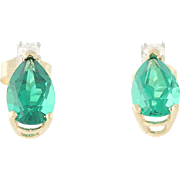 Emerald Teardrop Stud Earrings - Diamond Accents 14k Yellow Gold Pierced 1.68ctw