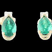 Emerald Teardrop Stud Earrings - Diamond Accents 14k Yellow Gold Pierced 1.68ctw