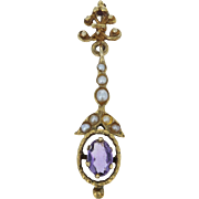 Vintage Amethyst & Seed Pearls Pendant - 14k Yellow Gold