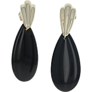 Onyx Teardrop Earrings - 14k Yellow Gold Pierced Pear Solitaire