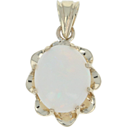 Opal Pendant - 10k Yellow Gold Oval Solitaire 1.25ct