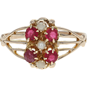 Victorian Ostby & Barton Ruby & Simulated Pearl Ring - 10k Gold Antique .28ctw