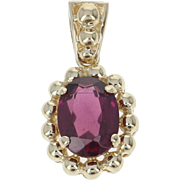 Garnet Pendant - 14k Yellow Gold Oval Solitaire 1.40ct
