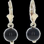 Dangle Onyx Bead Earrings - 14k Yellow Gold Pierced Leverback