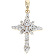 Diamond Cross Pendant - 10k Yellow Gold Faith Gift Round Brilliant .25ctw