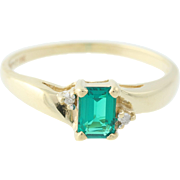 Syn Emerald Ring Diamond Accents 10k Yellow Gold Emerald Cut 0.62ctw