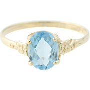 Blue Topaz Flower Ring - 10k Yellow Gold Oval Solitaire Floral 1.65ct