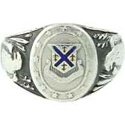 Vintage Military DUI Ring Sterling Silver Coat of Arms Eagle Insignia 10.5-10.75