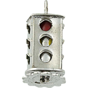 Vintage Stop Light Charm - Sterling Silver Spins Red Green Yellow