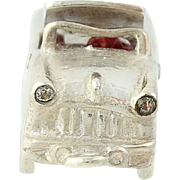 1950s Convertible Car Charm Sterling Silver Rhinestones Wheels Move Collectible