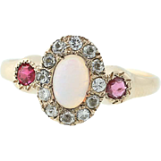 Edwardian Opal, Ruby, Cubic Zirconia, & Glass Halo Ring - 10k Yellow Gold 6 1/2