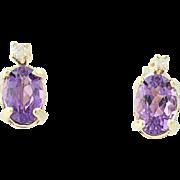 Amethyst Stud Earrings w/ Diamond Accents - Pierced 14k Yellow Gold 0.92ctw