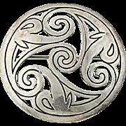 Ornate Flower Statement Brooch - Sterling Silver 925 Openwork Vintage Pin