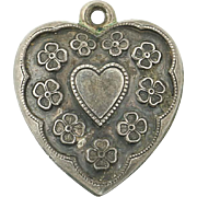 Vintage Floral Puffy Heart Charm - Sterling Silver Engraved Martha