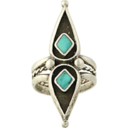Vintage Native American Ring - Sterling Silver Turquoise Statement Size 6