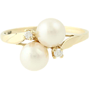 Cultured Pearl & Diamond Bypass Ring - 10k Yellow Gold Women's 5.9mm