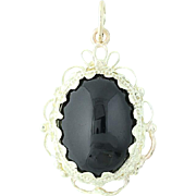 Black Onyx Pendant - 14k Yellow Gold Cabochon Cut Solitaire