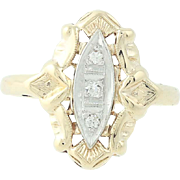 Vintage Diamond-Accented Ring - 10k Yellow Gold Milgrain Women's Size 5 1/4