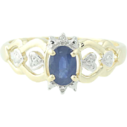 Blue Sapphire Ring Diamond Hearts 10k Yellow Gold 0.56ctw