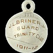 Vintage Basketball Keepsake Charm - Class 1911-1912 Trinity Club Sports Antique