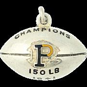 1941 Princeton Tigers Fob - Sterling Silver Pendant Enamel Football Champions