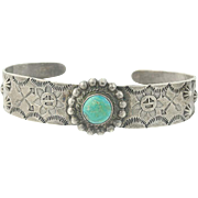 Native American Vintage Floral Cuff Bracelet - Sterling Silver Turquoise