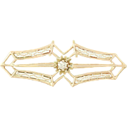 Art Deco Diamond Pendant - 10k Yellow Gold Converted Brooch Women's Keepsake