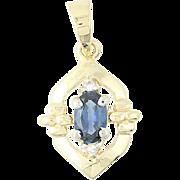 Sapphire & Diamond Accent Pendant - 14k Yellow Gold 0.31ctw Oval Fine Women's