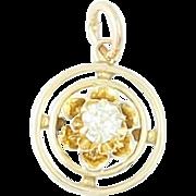 Diamond Art Deco Charm - 14k Yellow Gold Stickpin Conversion Floral