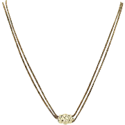 """Victorian Watch Chain Necklace Ornate Slide & Hook Clasp 25.5"""" Curb Chain"""