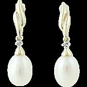 Freshwater Pearl & Diamond Drop Earrings - 10k Yellow Gold Pierced Dangle