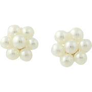Cultured Pearl Cluster Earrings - 14k Yellow Gold Pierced Floral