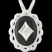 Onyx Pendant Diamond Accent - 14k White Gold