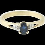 Sapphire & Diamond Ring - 10k Yellow Gold Engagement Oval Brilliant .31ctw