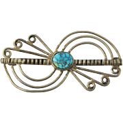 Native American Brooch - Sterling Silver Spider Web Turquoise Vintage Pin