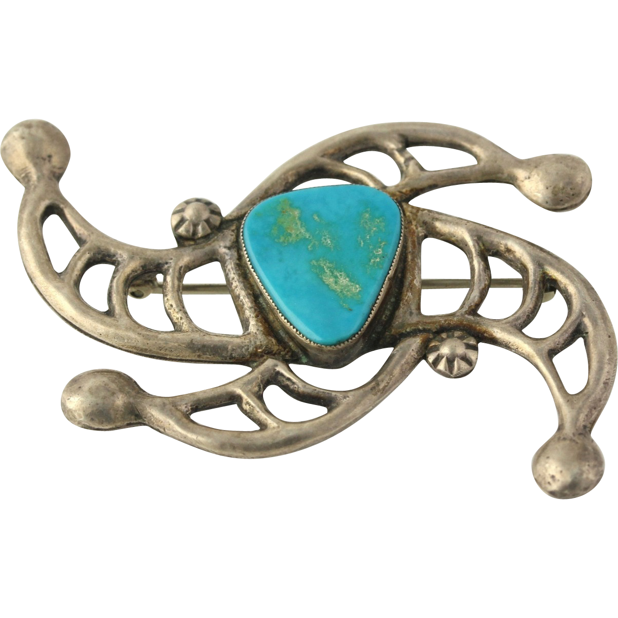 Native American Turquoise Brooch - Sterling Silver Abstract Women's Fine Estate