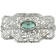 Vintage Filigree Glass Brooch - 10k White Gold Teal Blue Solitaire Women's Pin