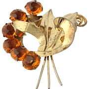 Chunky Vintage Flower Brooch - Sterling Silver Orange Glass Women's Pin Estate