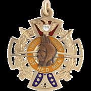 Improved Order of Red Men Vintage Badge Medal - 10k Gold TOTE Pendant Fob Enamel