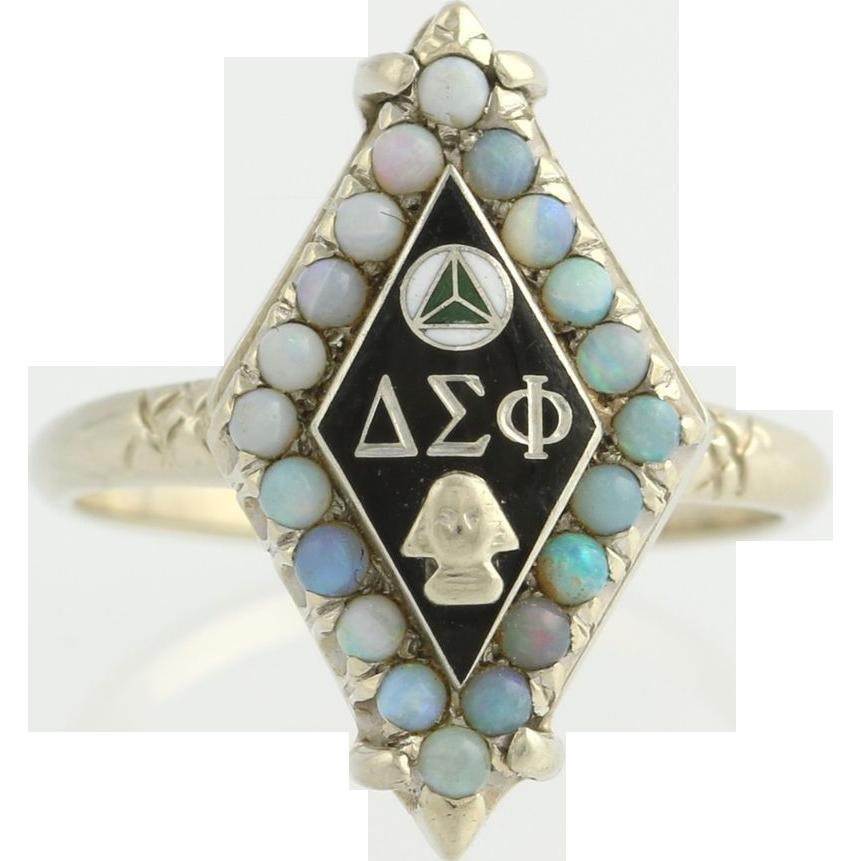 Delta Sigma PhiRing - fraternity 14k White Gold Opal Gemstone Gem