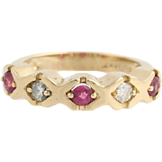 Diamond & Ruby Cocktail Band - 14k Yellow Gold Women's Five Stone Fine Estate