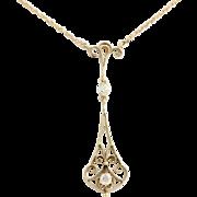 Diamond Lavalier Pendant - 14k Yellow Gold Women's Edwardian Era .31ctw Fine