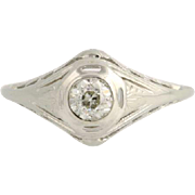 Art Deco Diamond Engagement Ring - 18k White Gold Solitaire 7 Genuine .33ctw