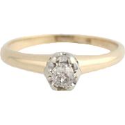 Vintage Mine Cut Diamond Ring - 14k Yellow Gold Band Women's Fine Estate 2 3/4-3