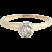 Vintage Mine Cut Diamond Ring - 14k Yellow Gold Band Women's Fine Estate 2 3/4-3