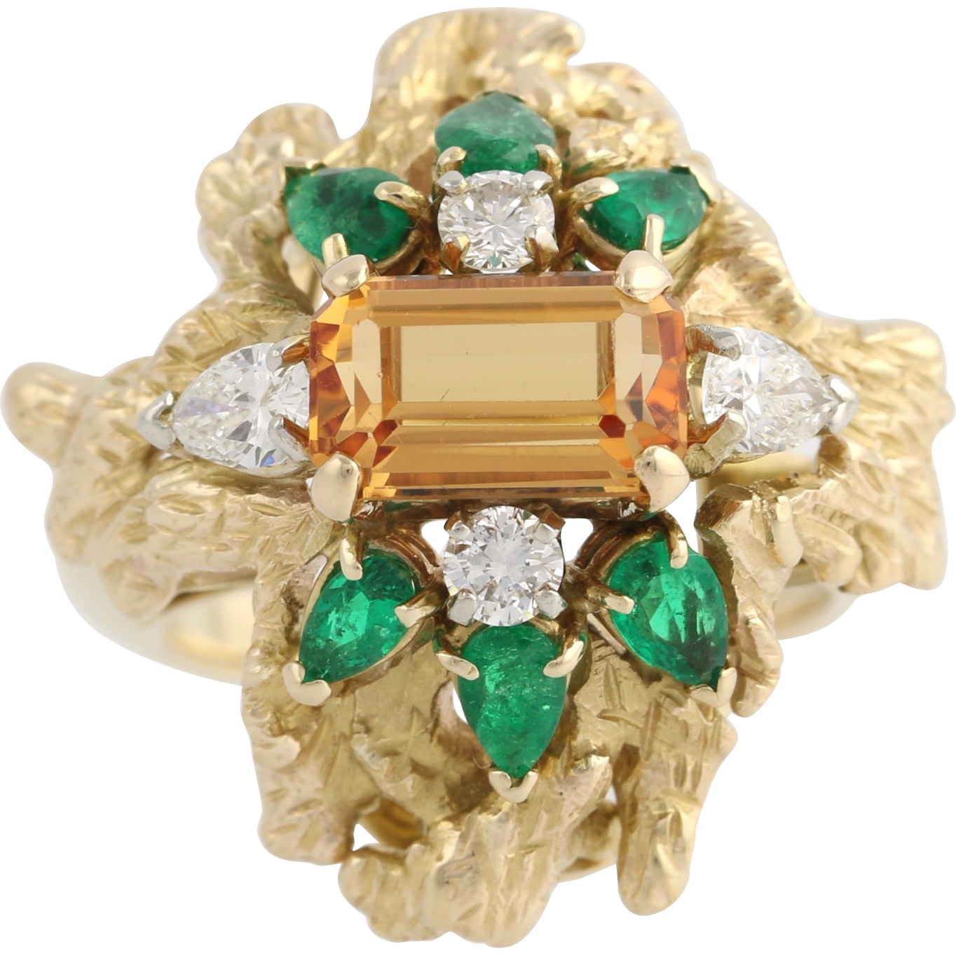 Topaz Emerald & Diamond Cocktail Ring - 14k Yellow Gold Women's Natural Precious