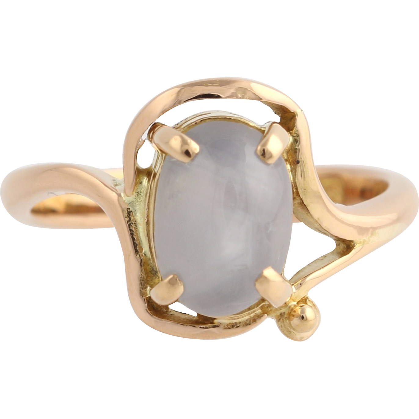 Star Sapphire Bypass Ring - 870 Pure Gold 3.93ct Rose Light Blue Grey Estate